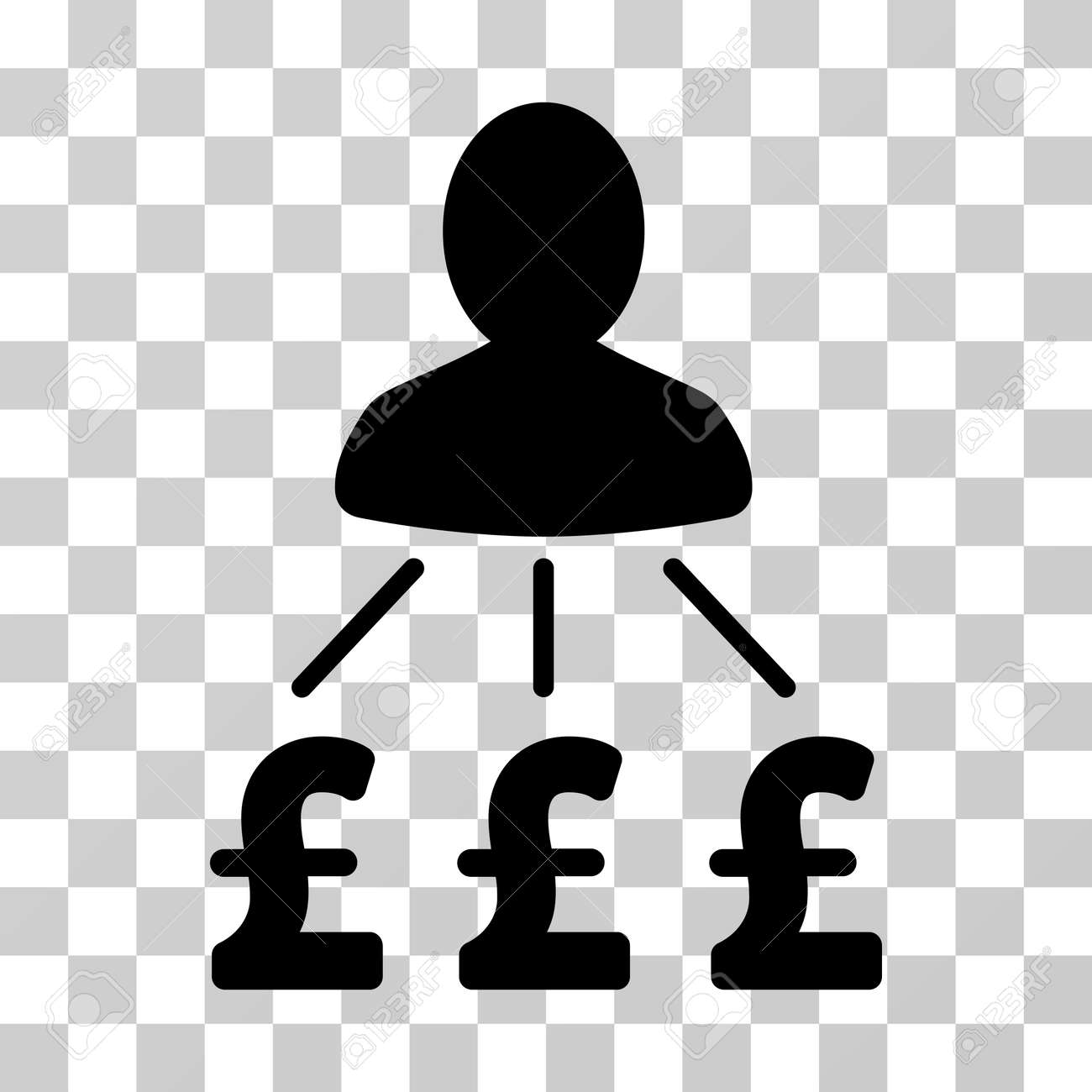 person pound expenses vector pictogram illustration style is a flat iconic black symbol on a
