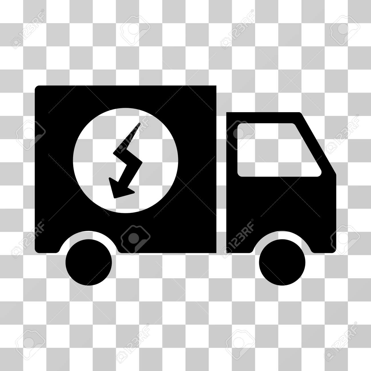 Power Supply Van Vector Icon. Illustration Style Is A Flat Iconic ...