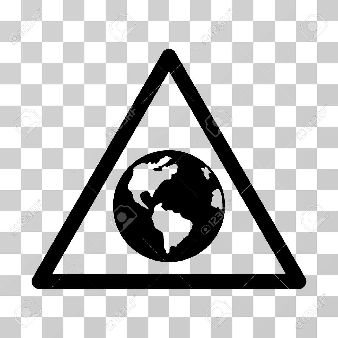 Earth warning vector icon illustration style is flat iconic black illustration style is flat iconic black symbol on a transparent background buycottarizona