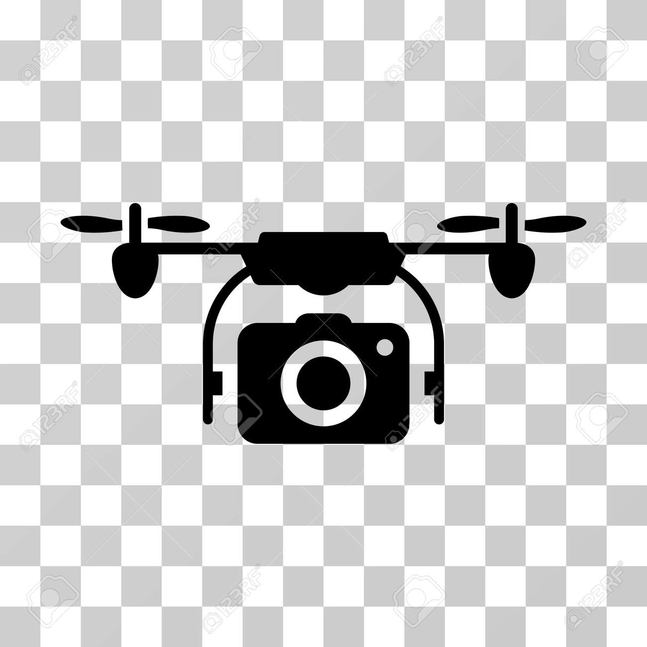 Camera Drone Icon Vector Illustration Style Is Flat Iconic Symbol Black Color Transparent