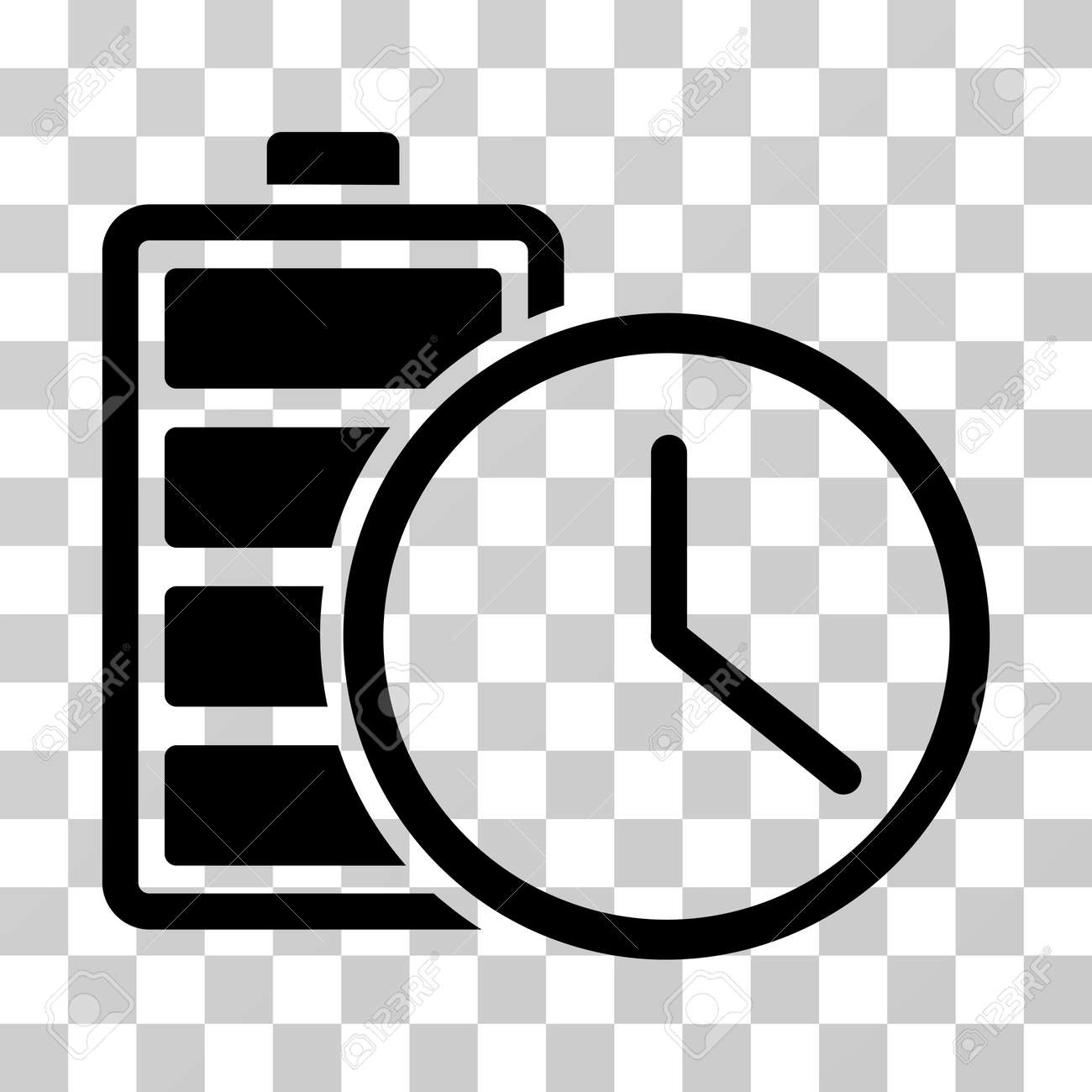 Battery time icon vector illustration style is flat iconic symbol vector illustration style is flat iconic symbol black color transparent biocorpaavc