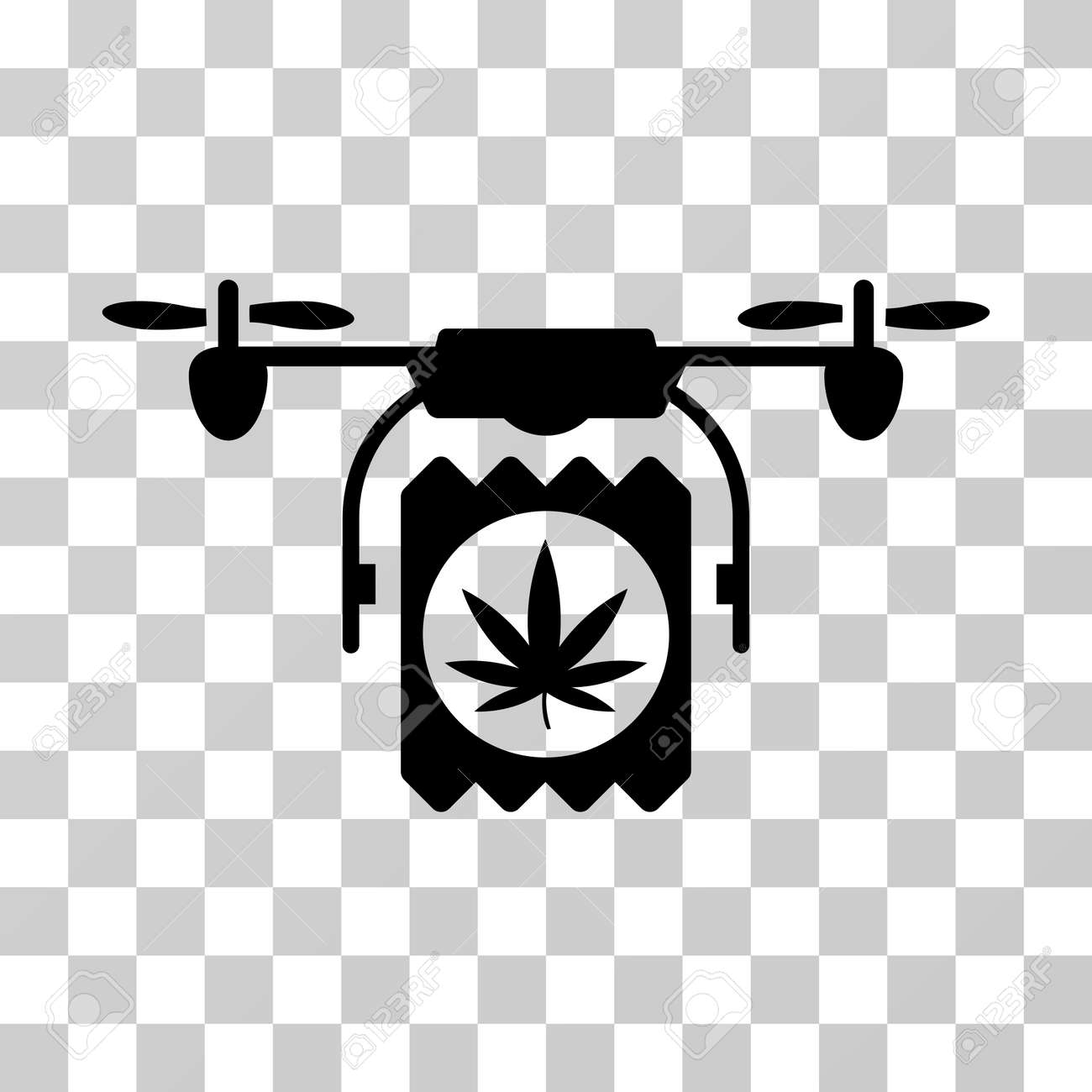 Drone Cannabis Delivery Icon Vector Illustration Style Is Flat Iconic Symbol Black Color
