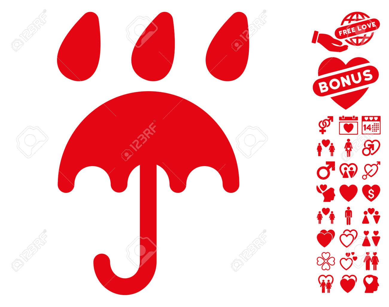 Icono De Protección De Lluvia Con Símbolos De Decoración De Bonificación Ilustración Vectorial Estilo Plano Símbolos Icónicos Rojos Sobre Fondo