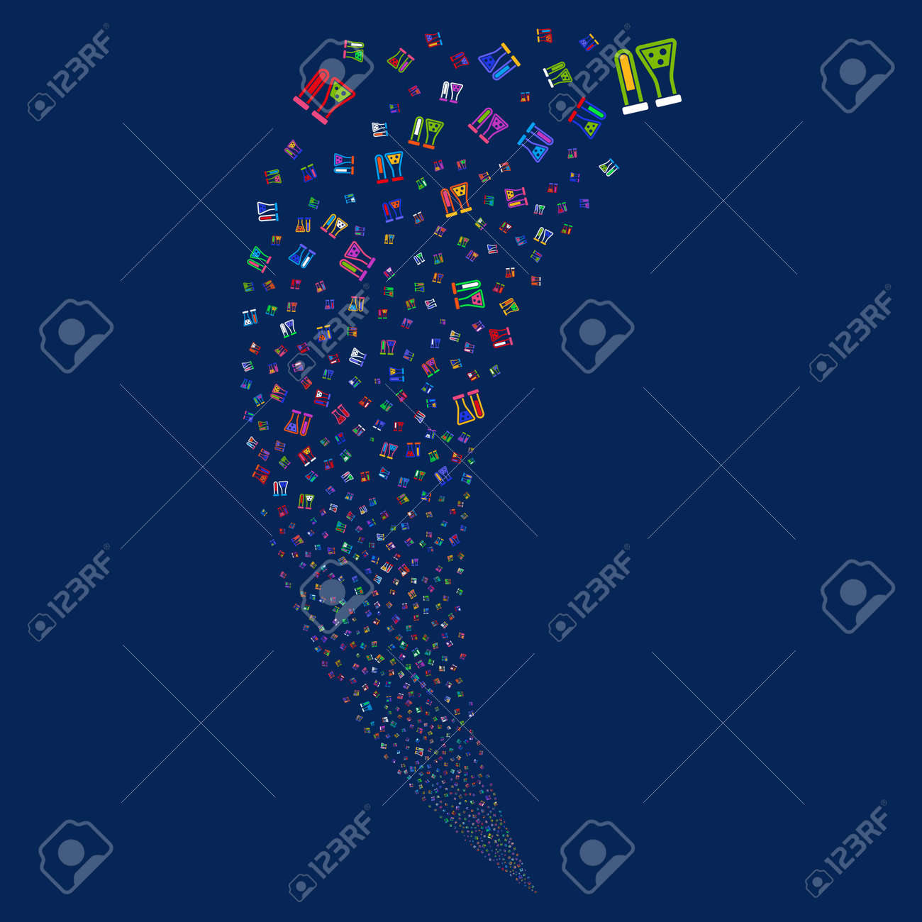 chemistry random fireworks stream  raster illustration style is flat bright  multicolored iconic symbols on a