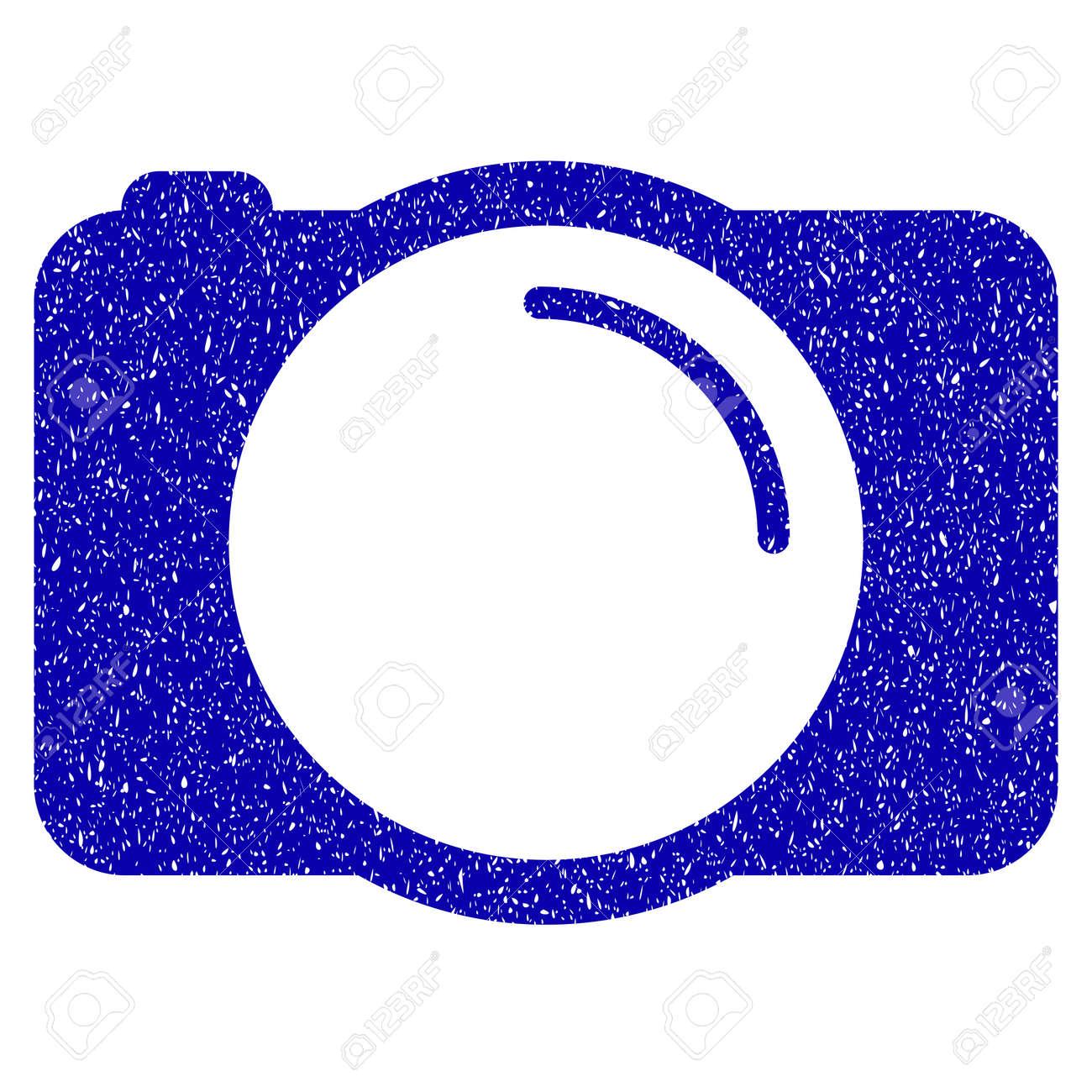 Foto De Grunge Cámara Sello De Goma Marca De Agua Del Sello Símbolo Del Icono Con Diseño Grunge Y Textura Sucia Etiqueta Azul Raster Borrosa
