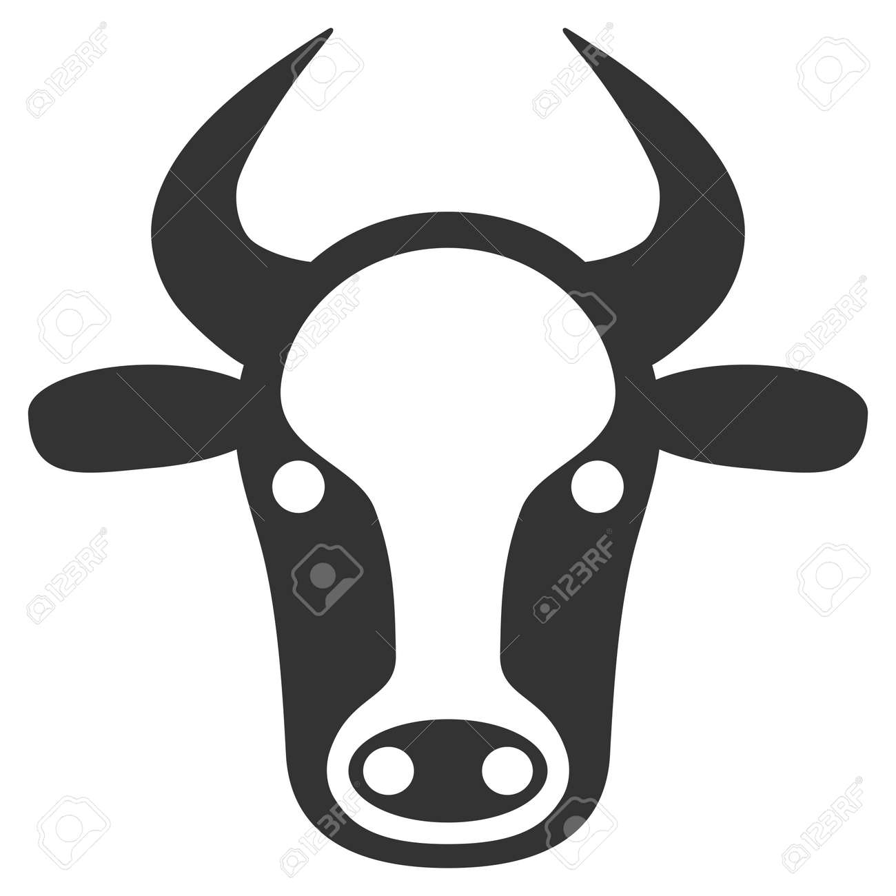 Cow Head Raster Icon Flat Gray Symbol Pictogram Is Isolated