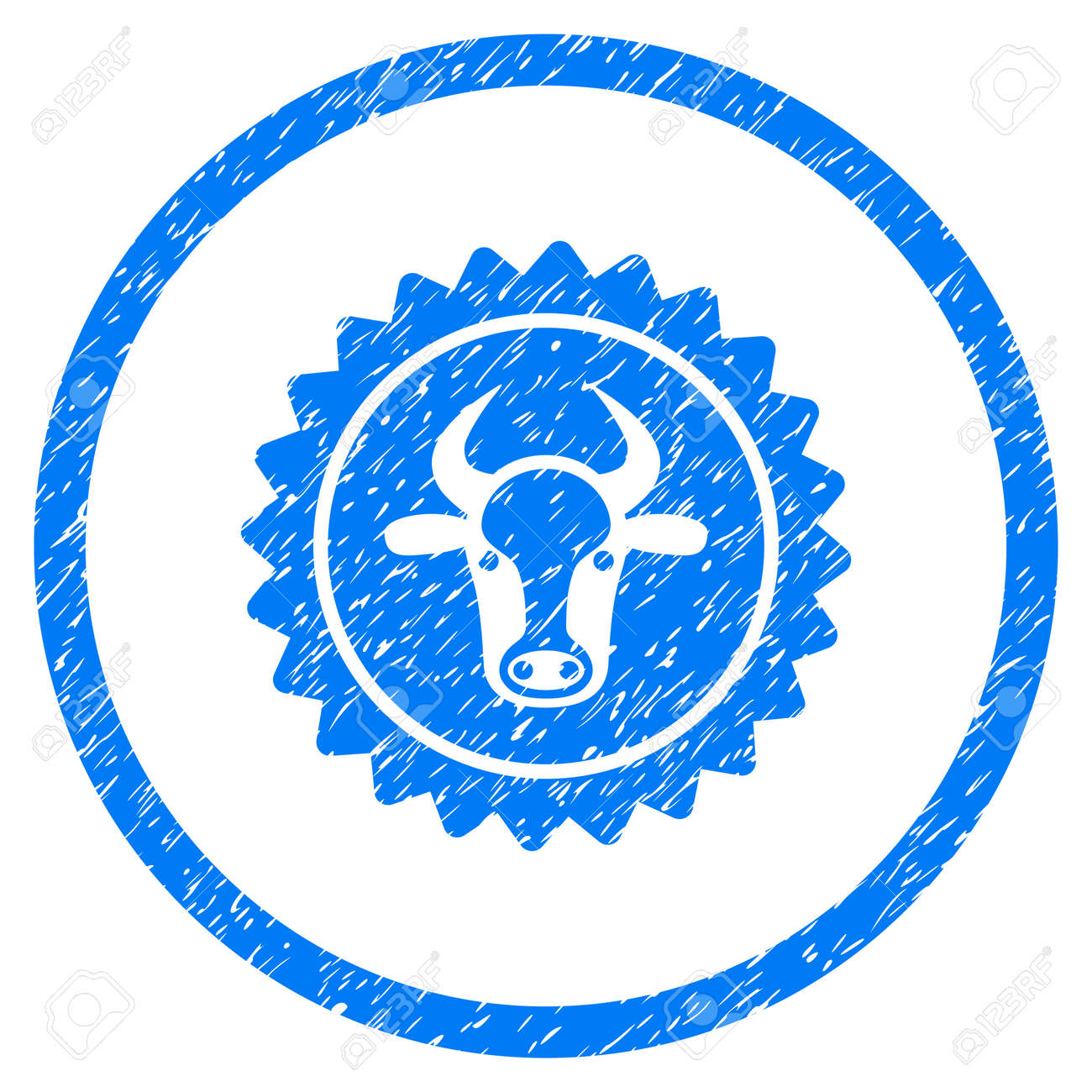 Beef Certificate Seal Grainy Textured Icon Inside Circle For