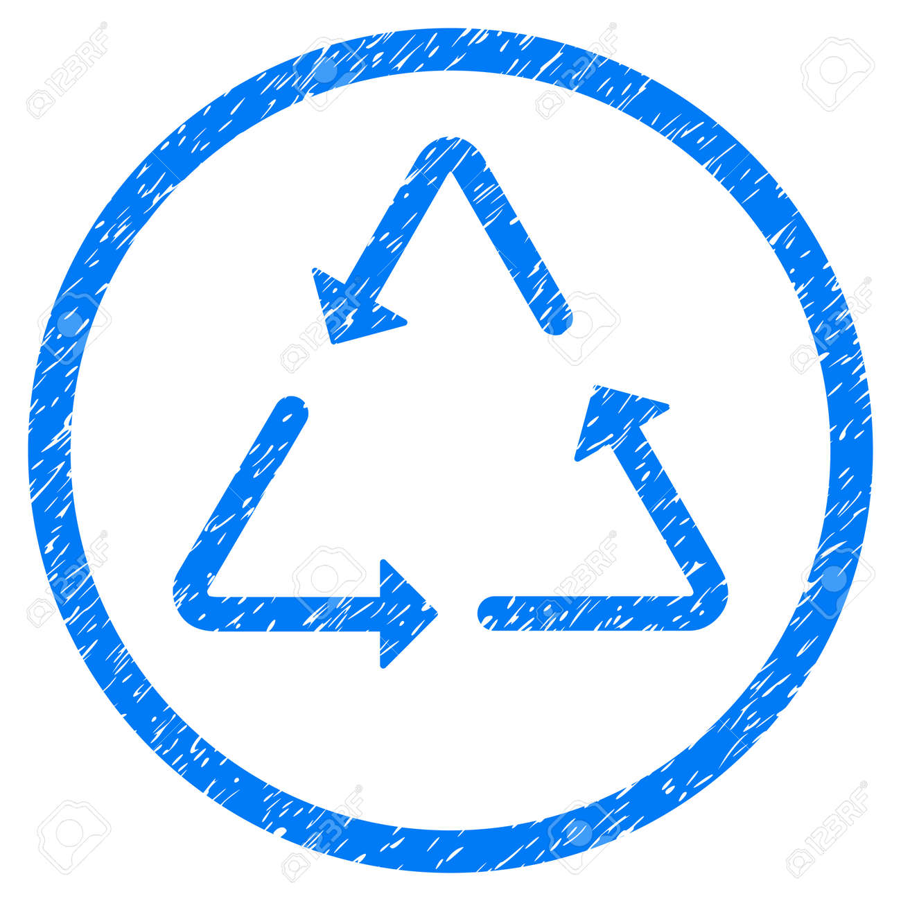 Recycling triangle grainy textured icon inside circle for overlay recycling triangle grainy textured icon inside circle for overlay watermark stamps flat symbol with unclean buycottarizona Images