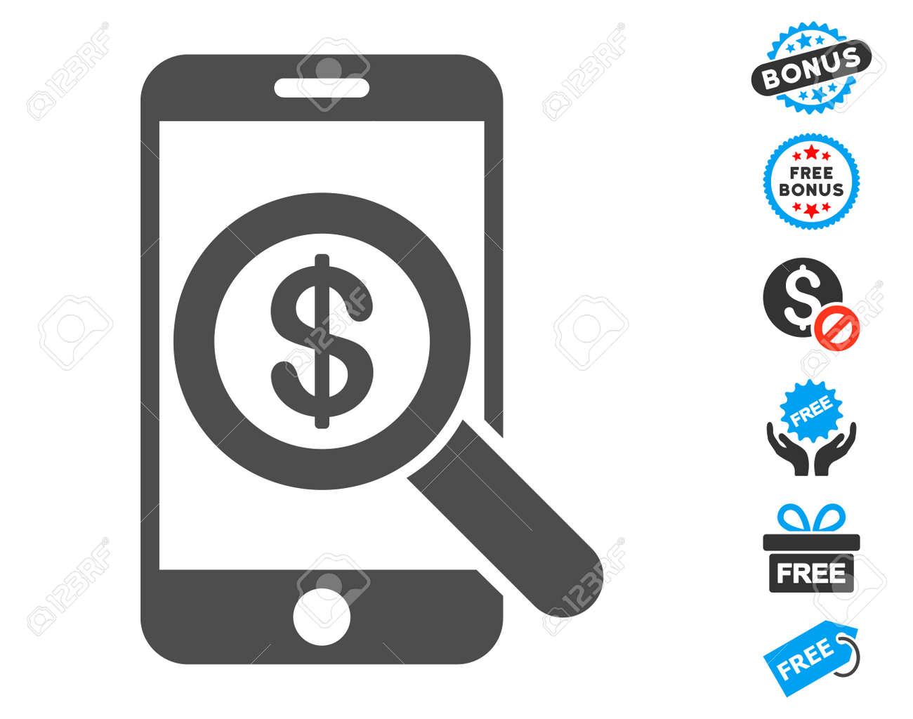 Mobile audit gray pictogram with free bonus symbols vector mobile audit gray pictogram with free bonus symbols vector illustration style is flat iconic symbols biocorpaavc Images