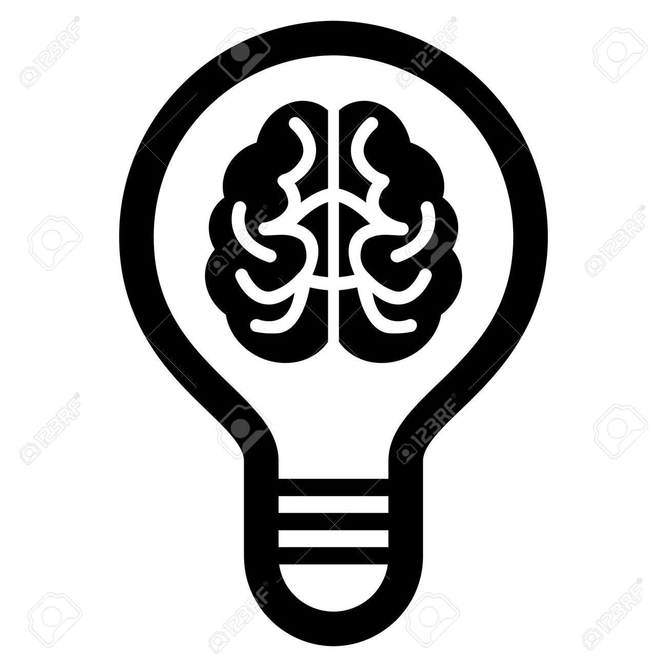 Brain Bulb Raster Icon. Flat Black Symbol. Pictogram Is Isolated ...