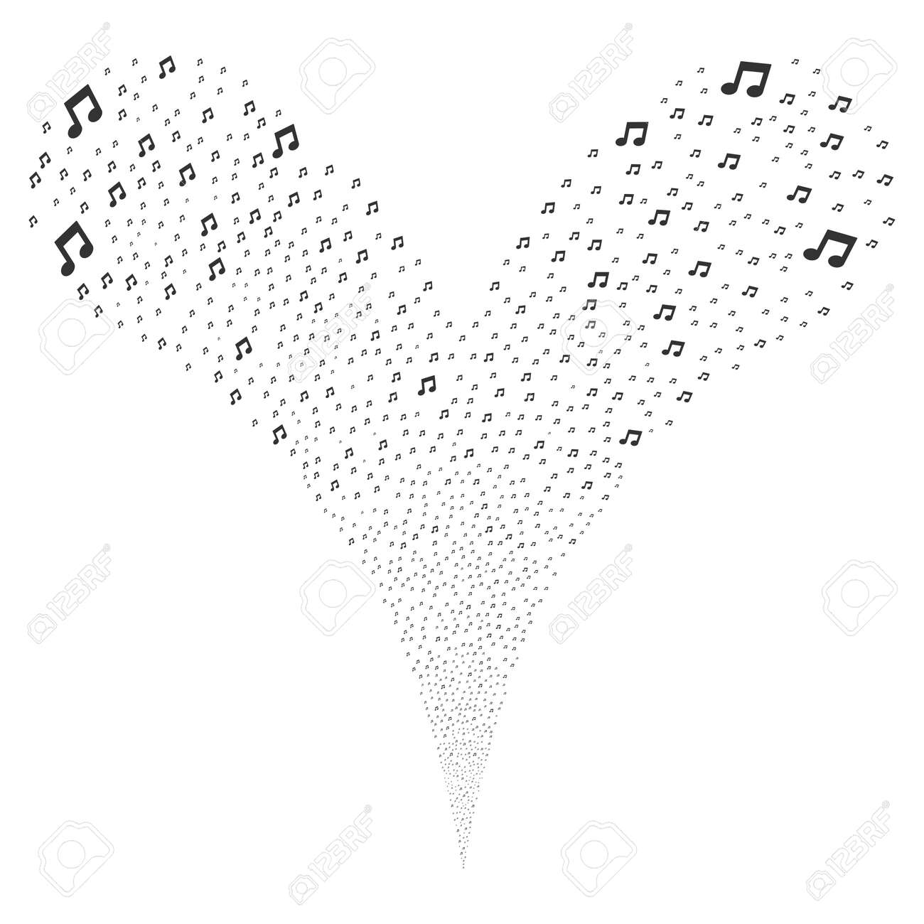 Music Notes Source Stream Raster Illustration Style Is Flat Gray