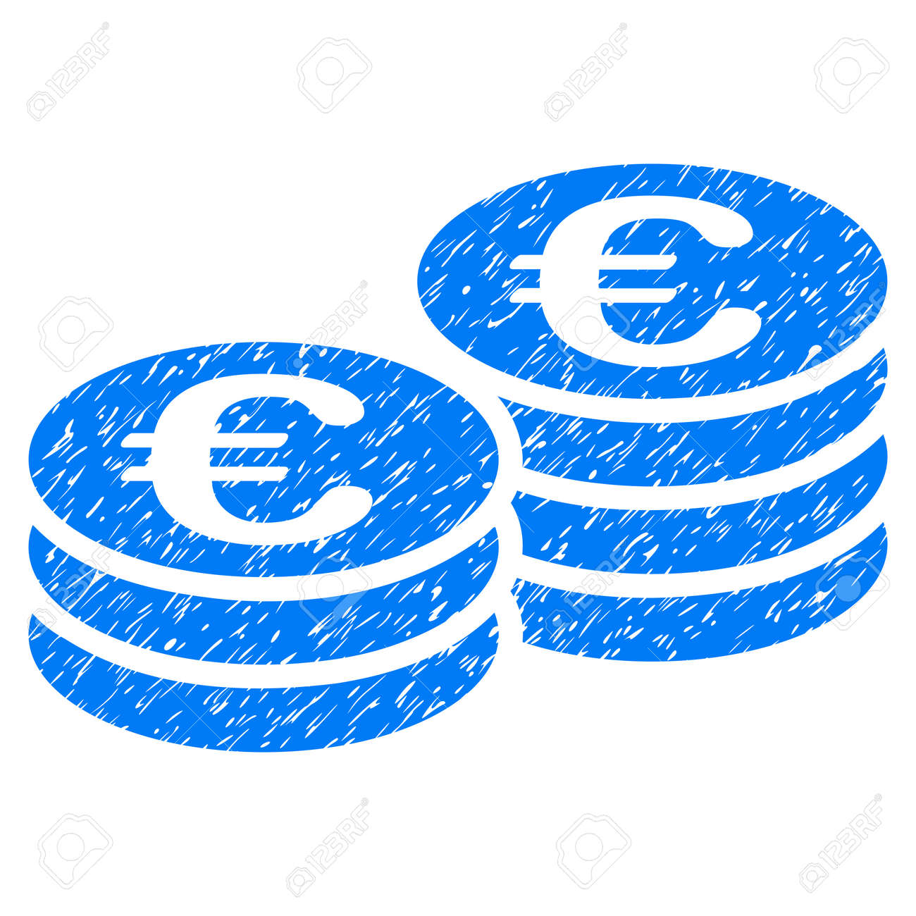 Grunge Euro Coins icon with grunge design and dirty texture. Unclean vector blue pictogram for rubber seal stamp imitations and watermarks. Draft emblem symbol. - 80441702