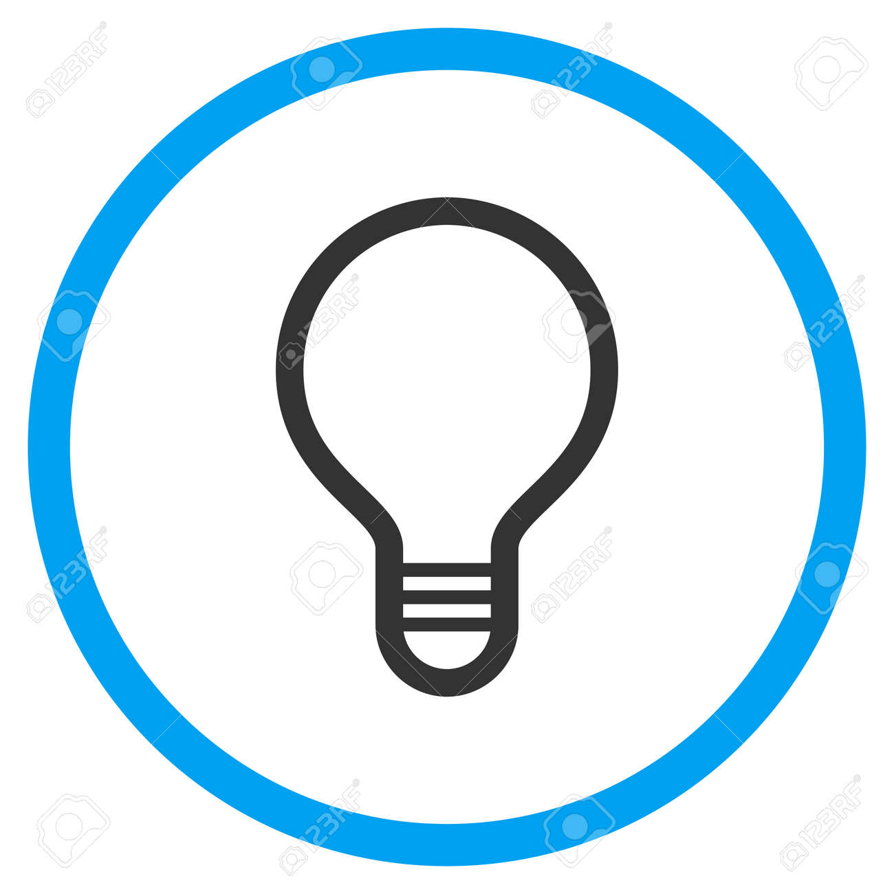 Lamp Bulb Rounded Icon. Vector Illustration Style Is A Flat Iconic ...