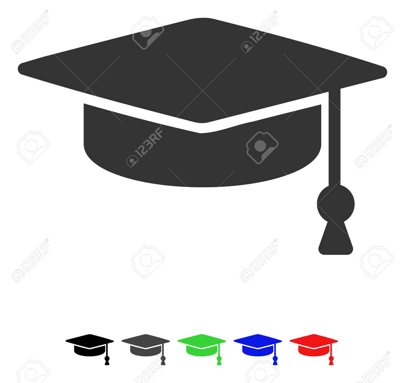 Graduation Cap Flat Vector Pictogram With Colored Versions. Color ...