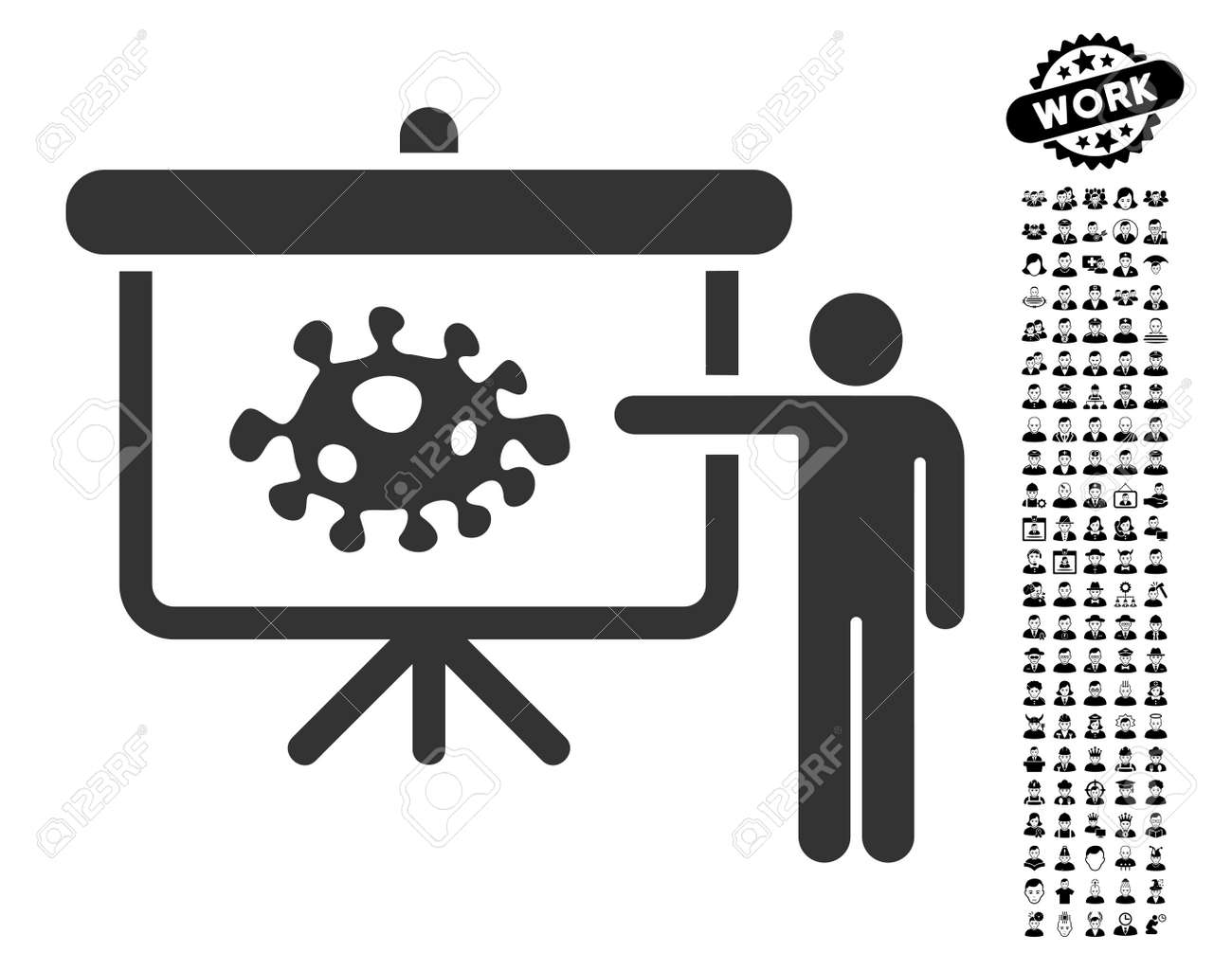 Bacteria lecture icon with black bonus professional pictograph collection stock vector 82766878