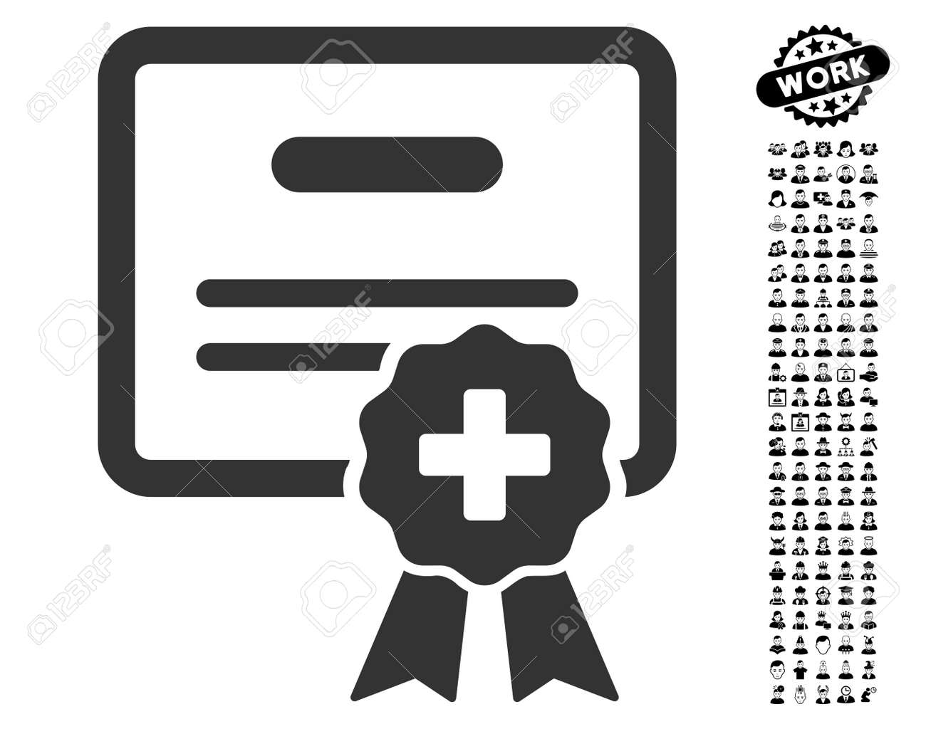 Medical Certification Icon With Black Bonus People Pictograms