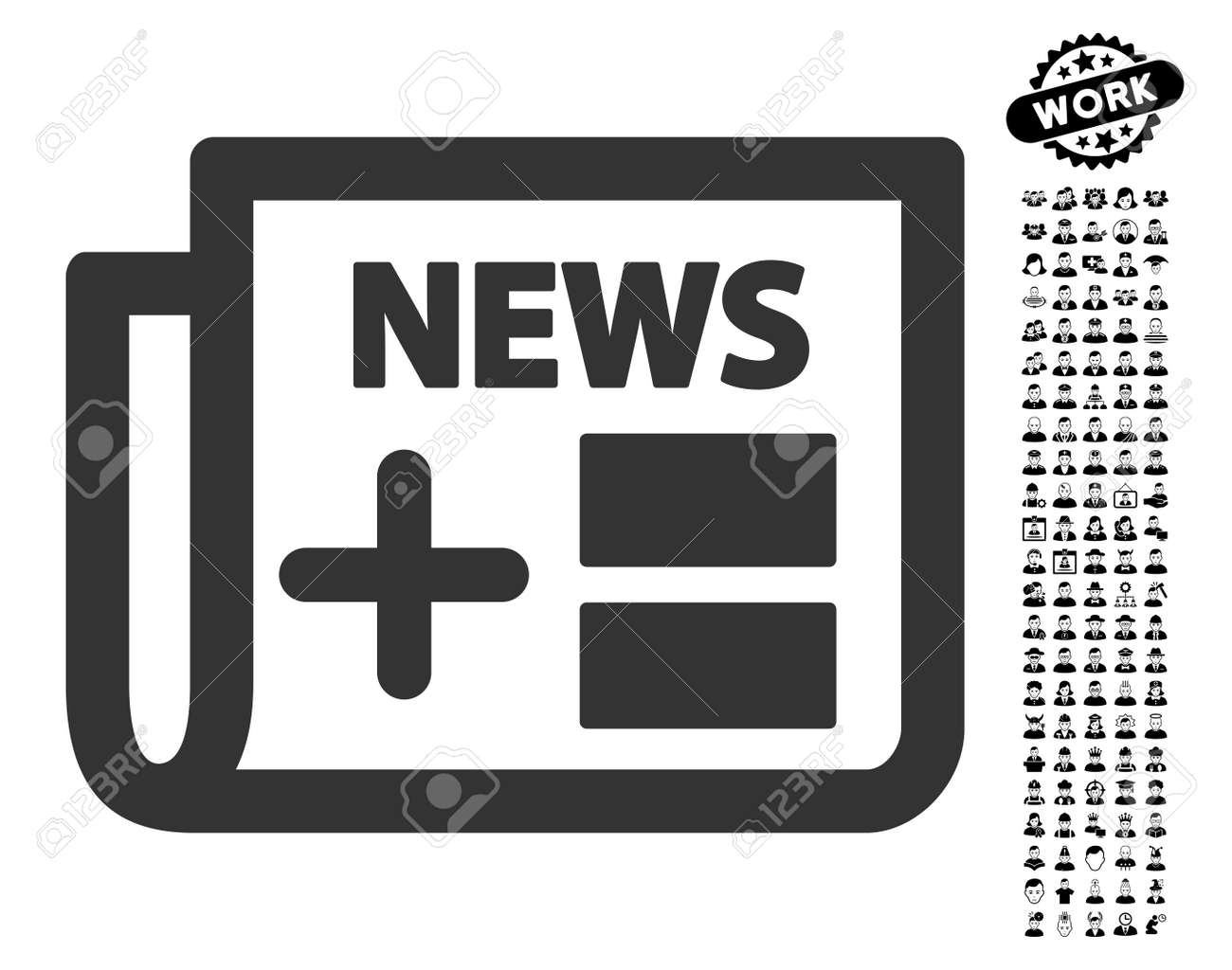 medical newspaper icon with black bonus men pictograms. medical
