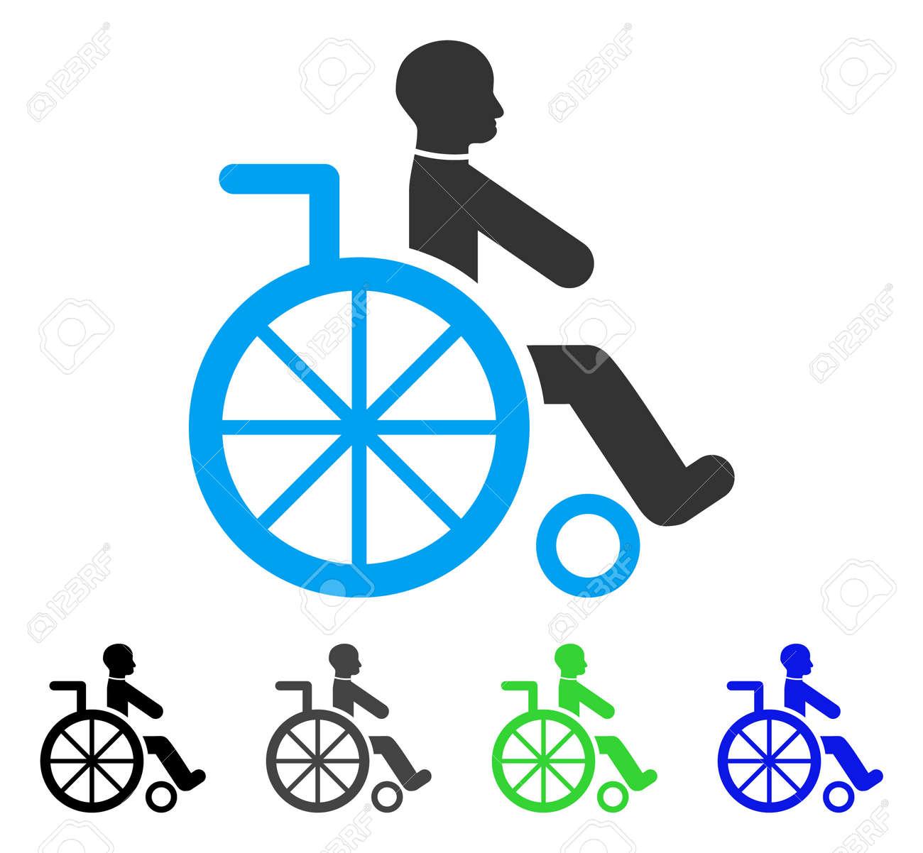 Rollstuhl Wohnung Vektor Illustration. Farbiger Rollstuhl Grau, Schwarz,  Blau, Grün