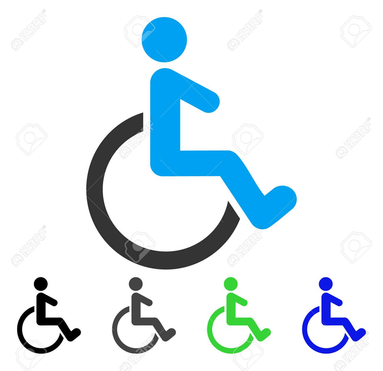 Rollstuhl Wohnung Vektor Illustration. Farbiger Rollstuhl Grau, Schwarz,  Blau, Grüne