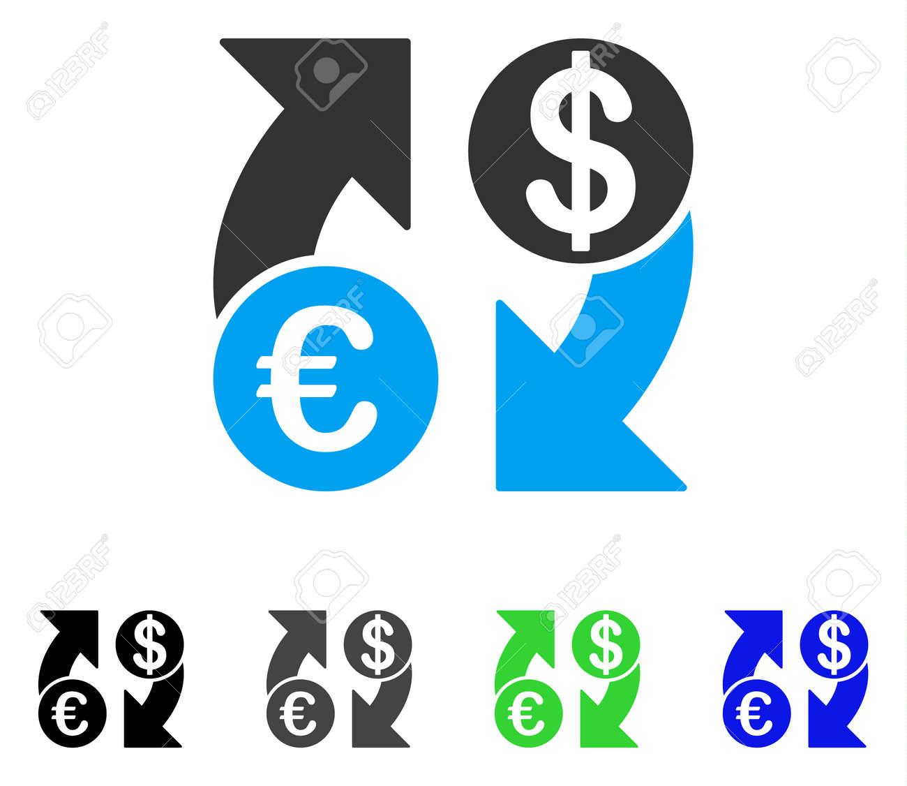 Euro Dollar Exchange Flechas Vector Icono Plano. Coloreado Dólar ...