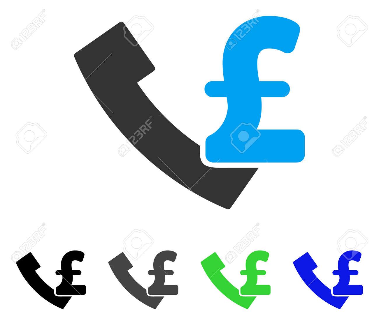 Icone De Vecteur Plat Livre Poundphone Versions De Pictogramme Gris Noir Bleu Vert De Telephone Paye De Livre Sterling Style D Icone Plate Pour