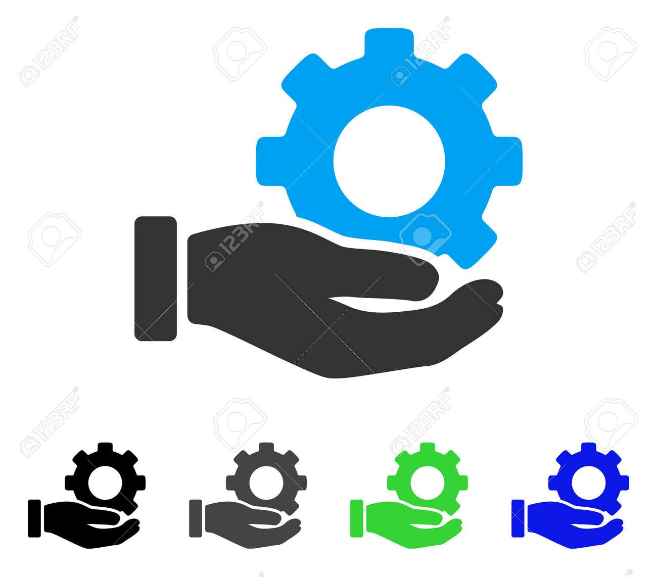 mechanic gear service hand flat vector illustration colored rh 123rf com hand vector logo hand vectors free