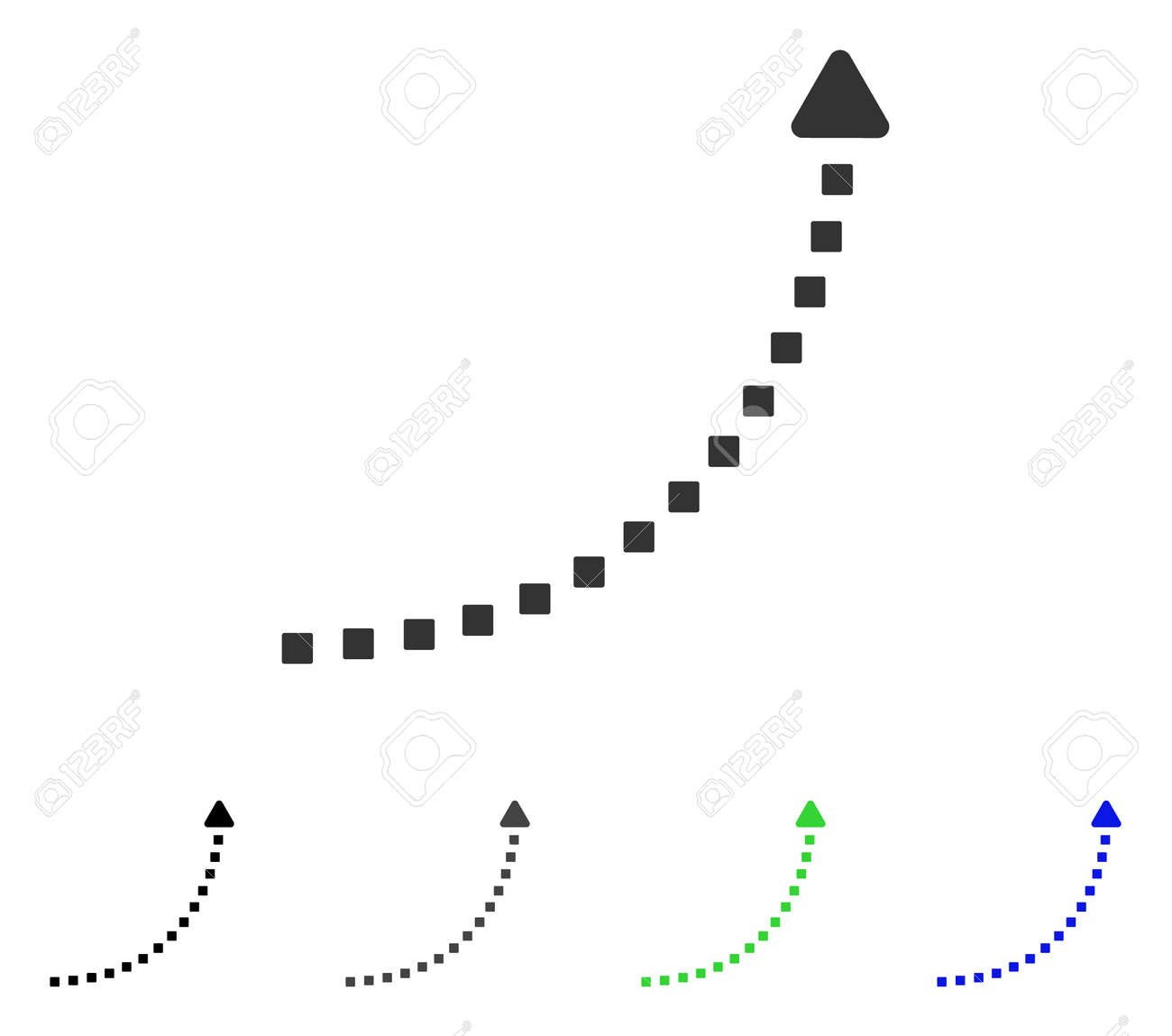 Dotted Growth Line flat vector illustration. Colored dotted growth line gray, black, blue, green icon variants. Flat icon style for graphic design. - 83040579