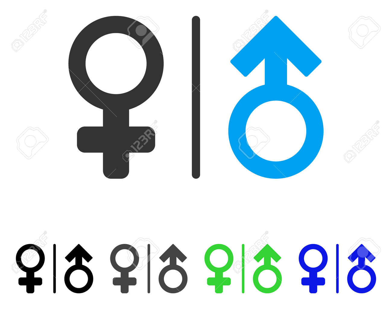 Wc Gender Symbols Flat Vector Illustration Colored Wc Gender