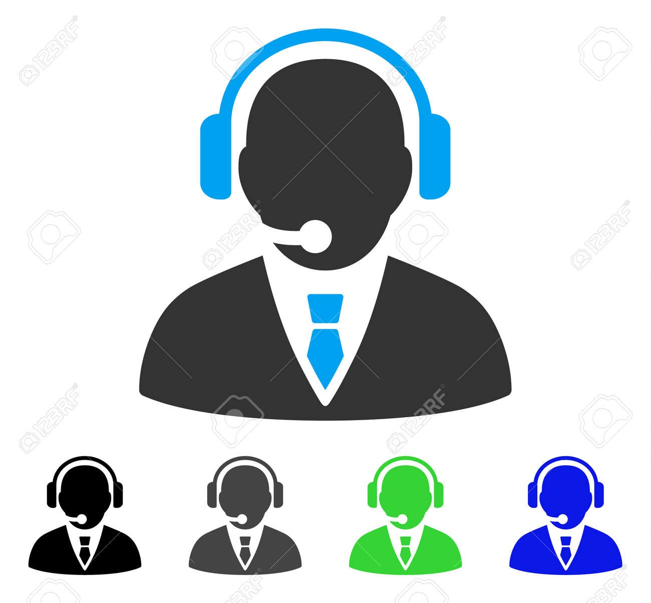 Support Manager flat vector pictograph. Colored support manager gray, black, blue, green icon versions. Flat icon style for graphic design. - 83029872