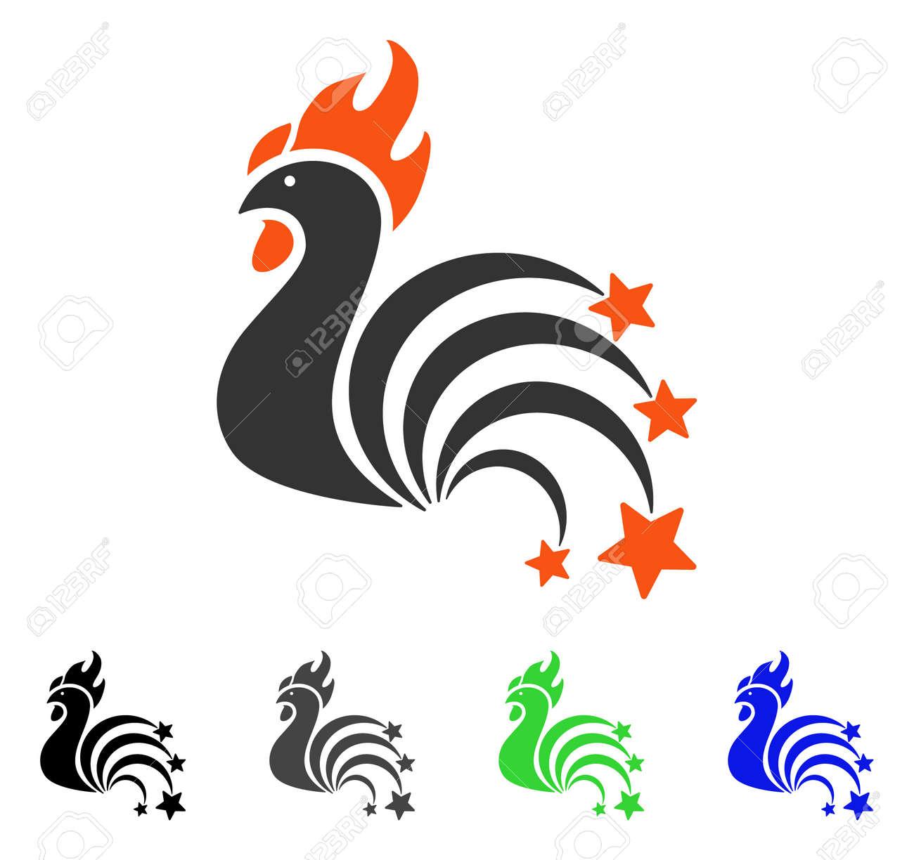 14fec8c934734 Foto de archivo - Gallo chispea ilustración vectorial plana. El gallo de  colores brilla en versiones de iconos grises