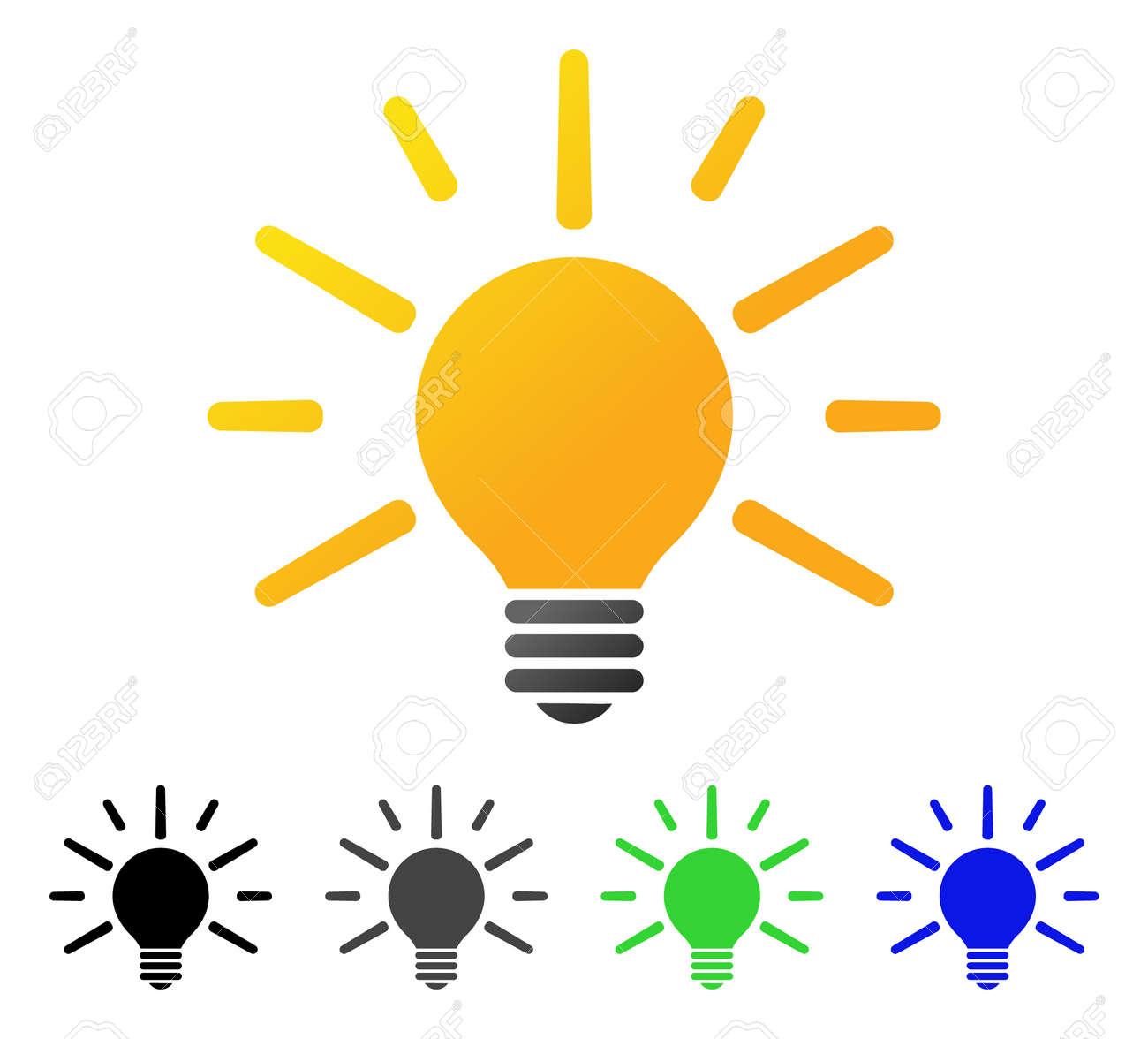 Glühbirne Flache Vektor Piktogramm. Farbige Glühbirne Farbverlauf ...