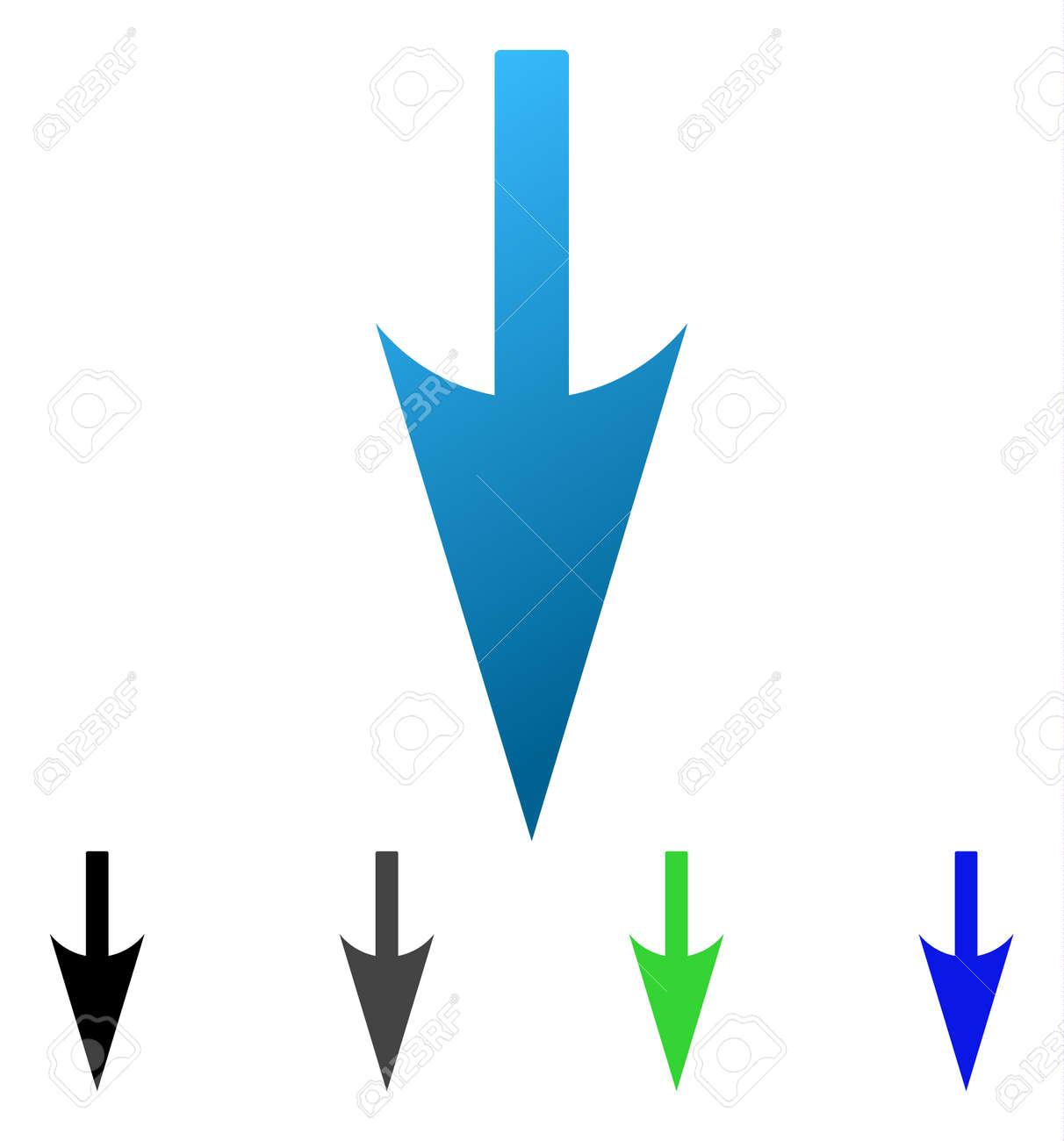 ↓ シャープ フラット ベクトル アイコン。矢印のグラデーション、灰色 ...