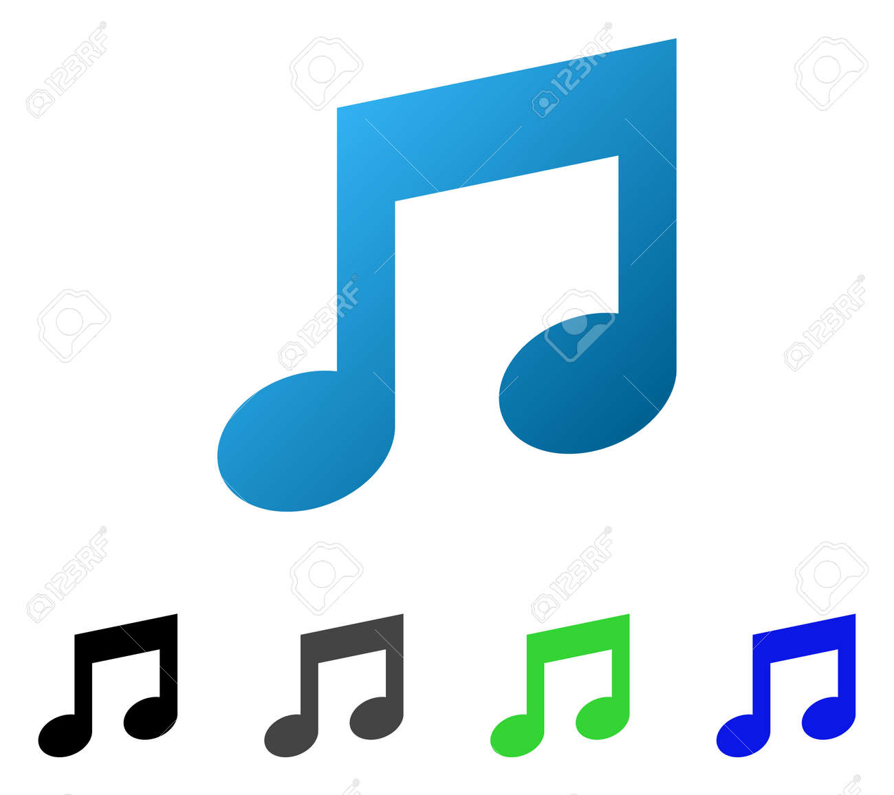 music notes flat vector pictogram colored music notes gradient