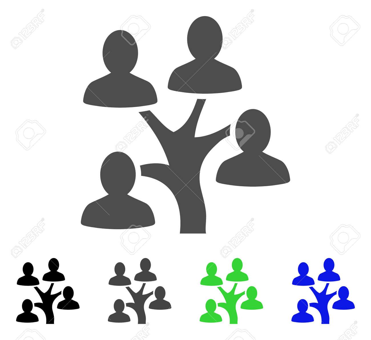Rbol De La Genealogía Icono Plano Del Vector árbol Genealógico Coloreado Gris Negro Azul Versiones Verdes Del Icono Estilo De Iconos Planos Para