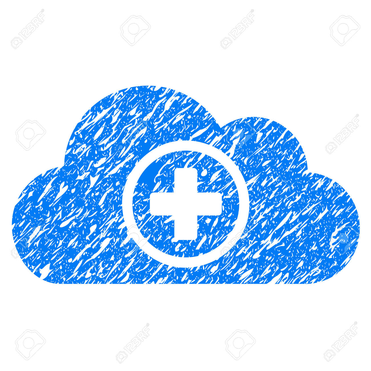 Grunge Health Care Cloud icon with grunge design and scratched texture. Unclean vector blue pictogram for rubber seal stamp imitations and watermarks. Draft sticker symbol. - 84220625