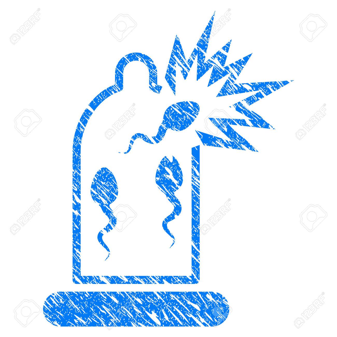 Icone De Dommages De Sperme De Preservatif Grunge Avec Design Grunge Et Texture Sale Pictogramme Bleu Raster Sale Pour Les Imitations Et Les Filigranes De Tampon En Caoutchouc Symbole Du Projet De