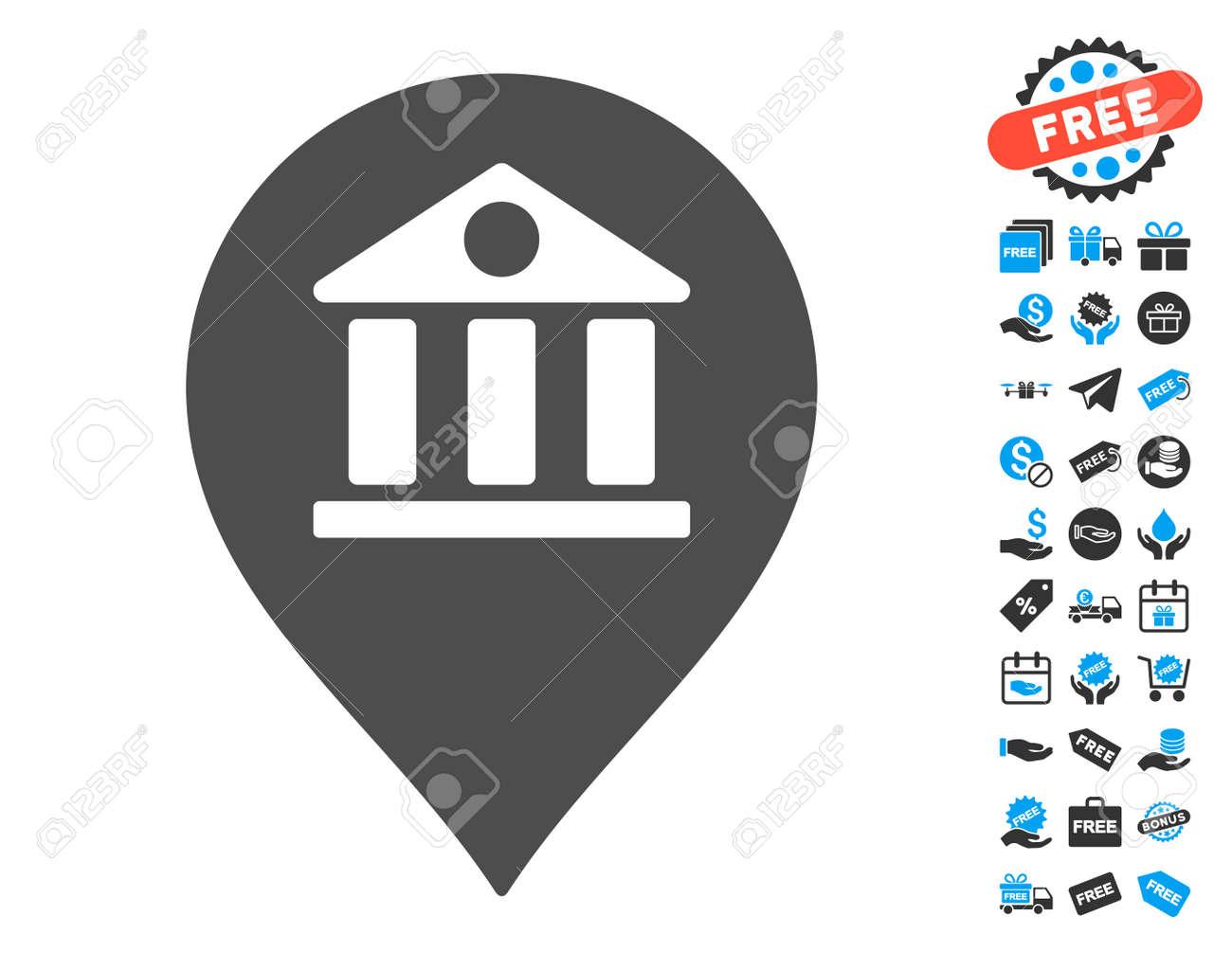 Bank marker grey icon with free bonus symbols vector illustration bank marker grey icon with free bonus symbols vector illustration style is flat iconic symbols biocorpaavc Images