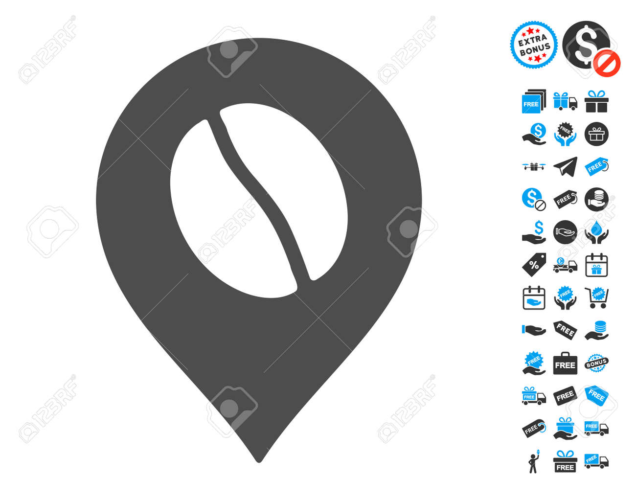 Coffee bean marker gray pictograph with free bonus symbols vector coffee bean marker gray pictograph with free bonus symbols vector illustration style is flat iconic biocorpaavc Images