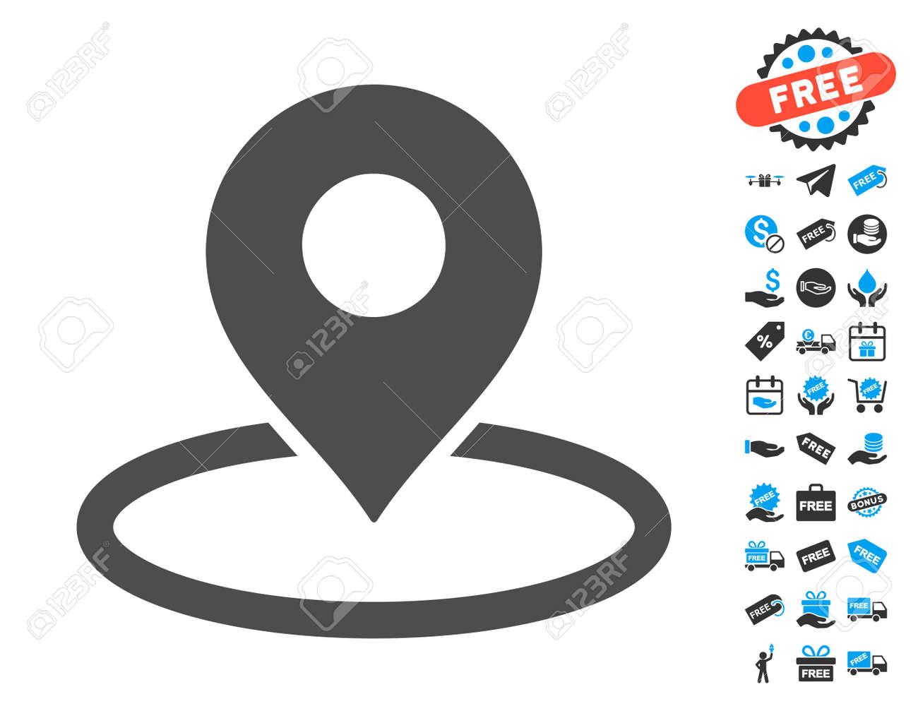 123 Images Gratuites map marker location icône grise avec des images bonus gratuites. le