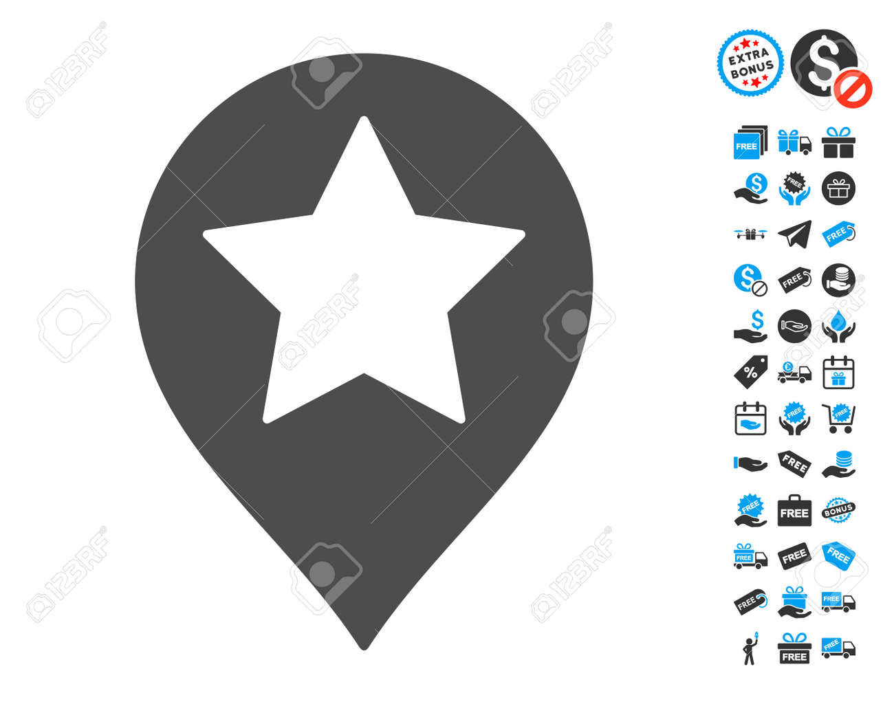 What Is A Star Map.Star Map Marker Gray Pictograph With Free Bonus Symbols Vector