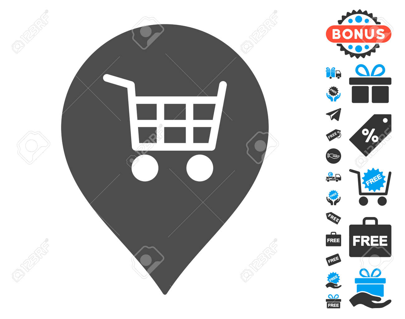Supermarket cart marker grey icon with free bonus symbols vector supermarket cart marker grey icon with free bonus symbols vector illustration style is flat iconic biocorpaavc Images