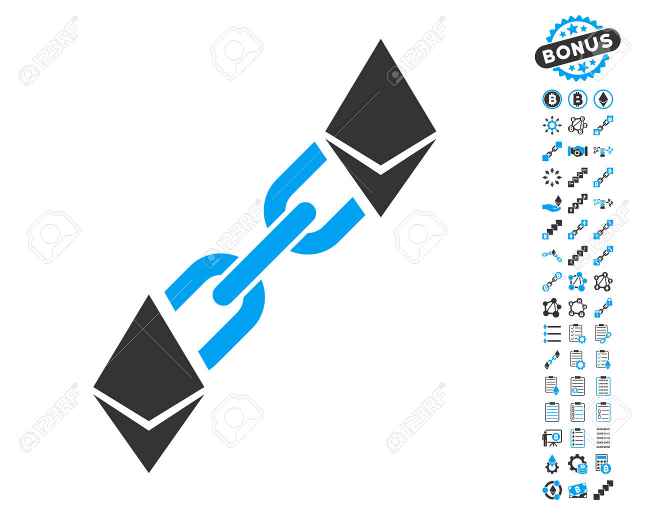 Ethereum Blockchain Icon With Bonus Clip Art Vector Illustration Style Is Flat Iconic Symbols