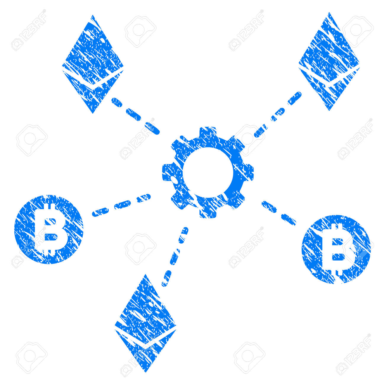 Grunge Cryptocurrency Network Nodes icon with grunge design and