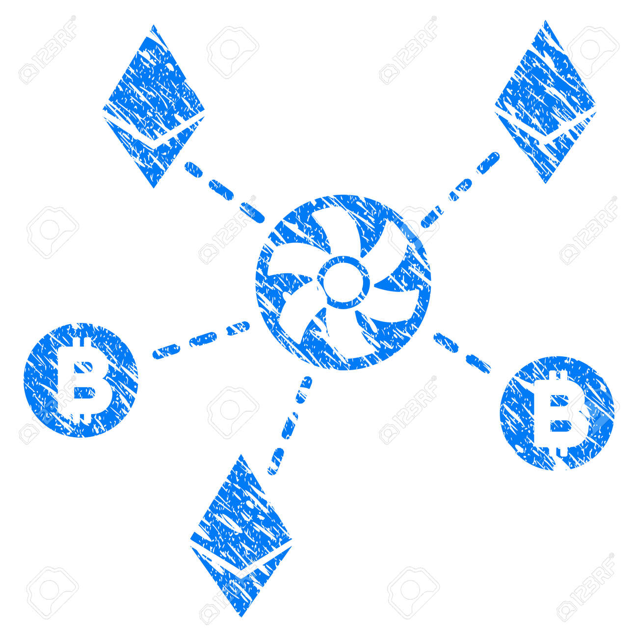Appliance money laundering stock photos royalty free business images grunge cryptocurrency blender rotor icon with grunge design and scratched texture unclean raster blue pictogram buycottarizona Images