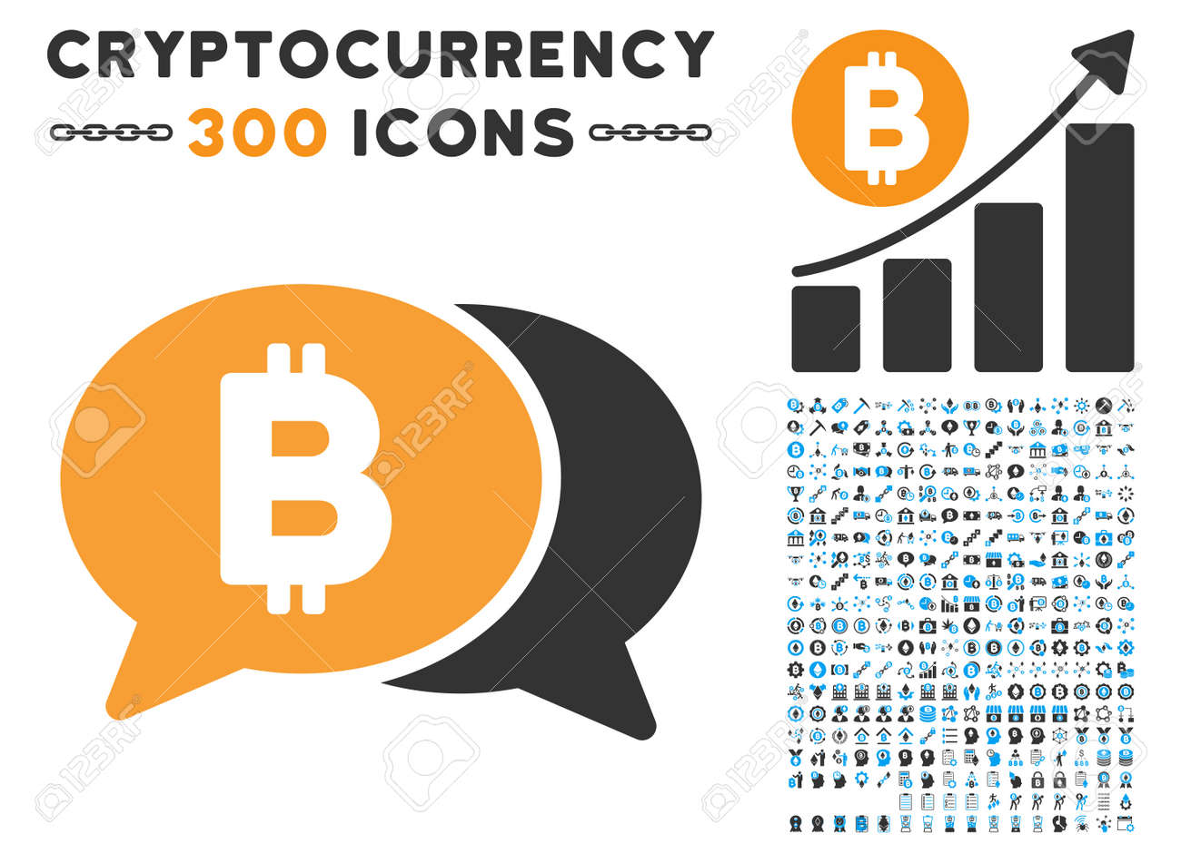Bitcoin Chat icon with 300 blockchain, cryptocurrency, ethereum, smart contract pictures. Vector illustration style is flat iconic symbols. - 84723791
