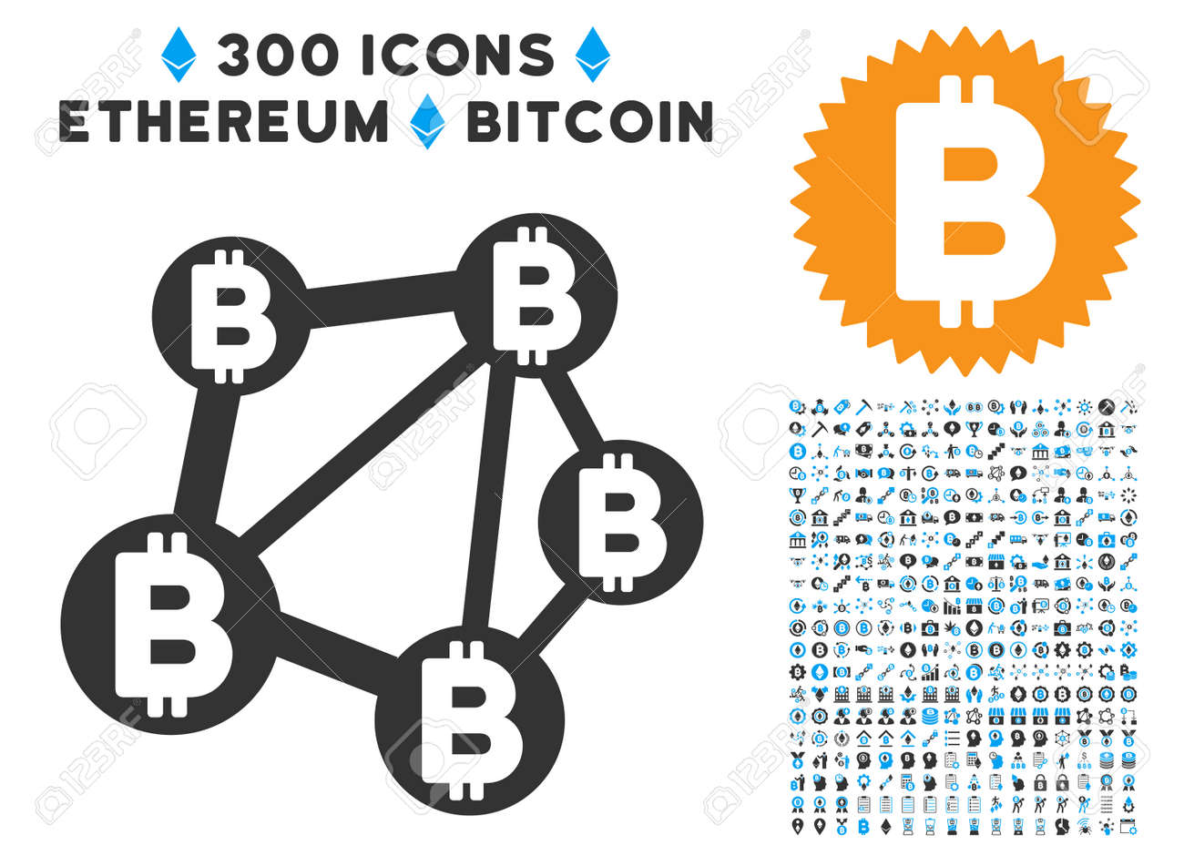 Bitcoin Network Icon With 300 Blockchain Ethereum Smart Contract Images Vector