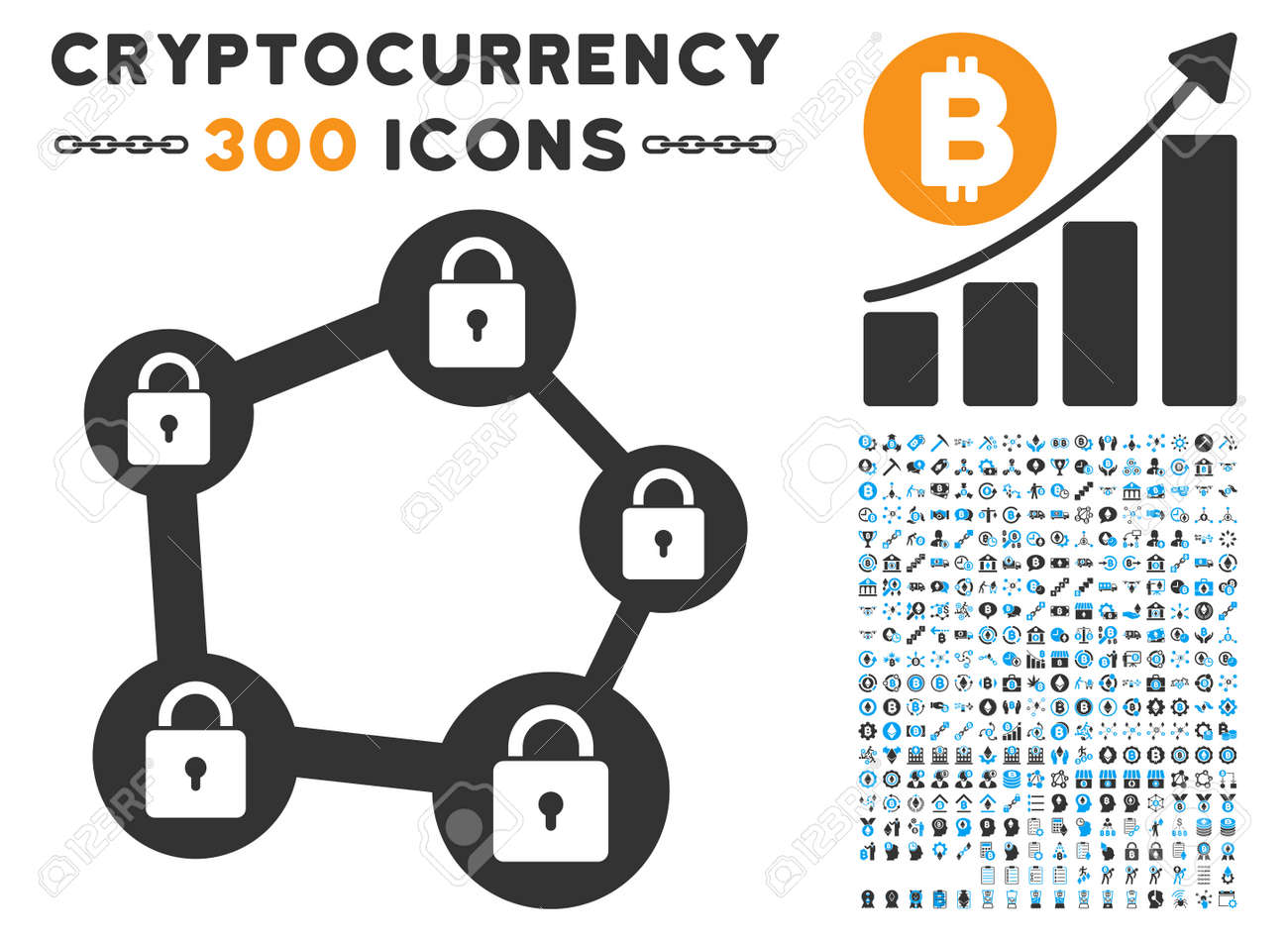 Blockchain Network Icon With 300 Bitcoin Ethereum Smart Contract Pictograms Vector