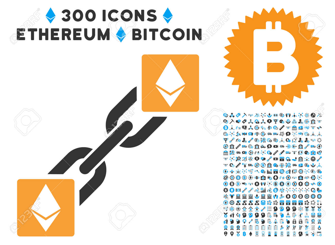 Ethereum Blockchain Icon With 300 Cryptocurrency Smart Contract Images Vector