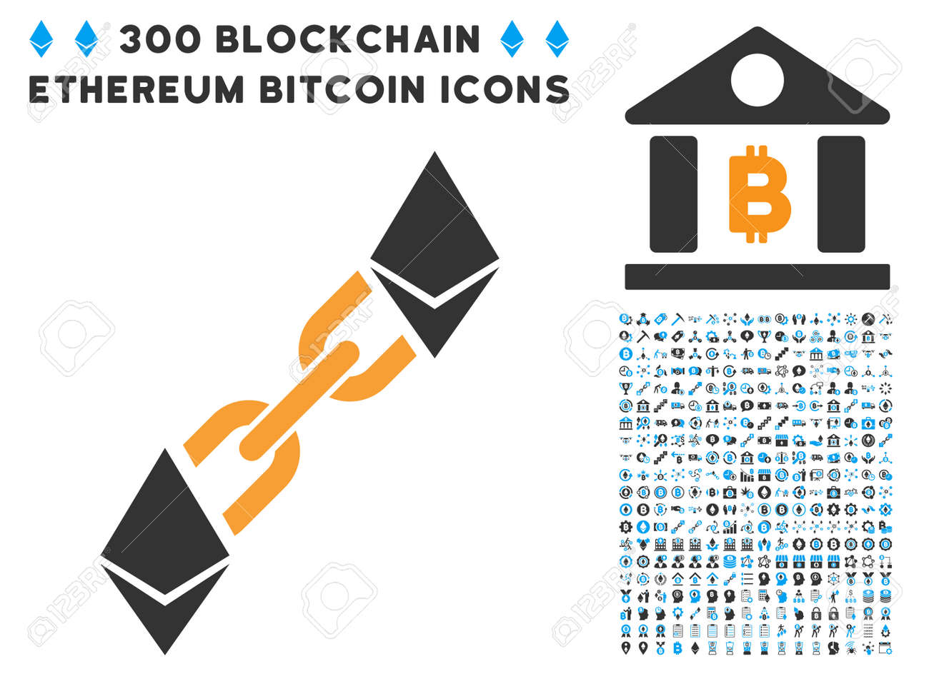 Ethereum Blockchain Pictograph With 300 Bitcoin Smart Contract Design Elements