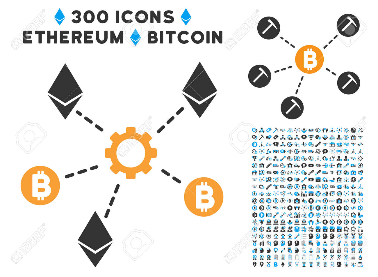 Cryptocurrency Network Nodes Icon With 300 Blockchain Bitcoin Ethereum Smart Contract Pictograms